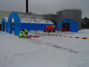 Montering av väderskydd och tälthallar
